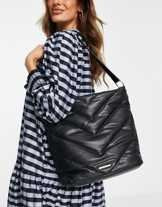 Стеганая сумка-мешок черного цвета Lipsy-Черный цвет