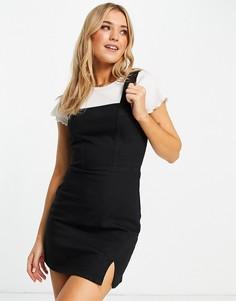Облегающее джинсовое платье-сарафан черного цвета с акцентными швами ASOS DESIGN-Черный цвет