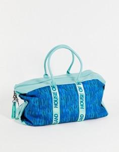 Синяя спортивная сумка с принтом логотипов House of Holland-Голубой