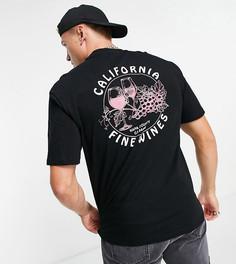 """Черная oversized-футболка с принтом """"California Wine"""" на спине Only & Sons – эксклюзивно для ASOS-Черный цвет"""