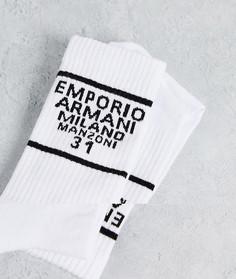 Набор из 3 пар белых носков с логотипом и надписью Emporio Armani Bodywear-Белый