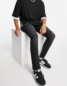 Черные узкие джинсы со рваной отделкой Jack & Jones Intelligence Glenn-Черный цвет