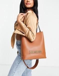 Светло-коричневая сумка-мешок с логотипом Love Moschino-Коричневый цвет