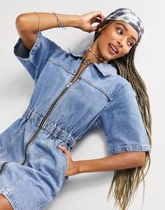 Синее выбеленное джинсовое платье с короткими рукавами Topshop-Голубой