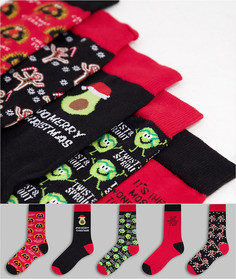 Набор из 5 пар красных носков с разноцветной вышивкой в новогоднем стиле New Look-Красный