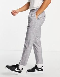 Серые суженные книзу брюки в клетку Topman-Серый