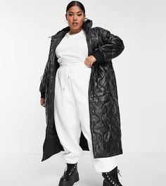 Черное стеганое пальто-пуховик из искусственной кожи с капюшоном ASOS DESIGN Curve-Черный цвет