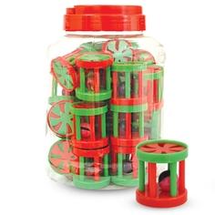 Погремушка для кошек Triol Барабанчик с бубенчиком, зеленый, красный, 4.5 см, 24 шт
