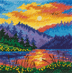 """Набор для вышивания крестом Klart """"Закат на озере"""", 10x10 см, арт. 8-406"""