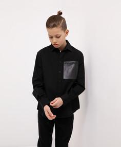 Рубашка черная с длинным рукавом Gulliver 221GSBJC2307 р.146