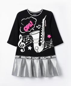 Платье Gulliver с принтом для девочки 22003GMC5004 черный р.128