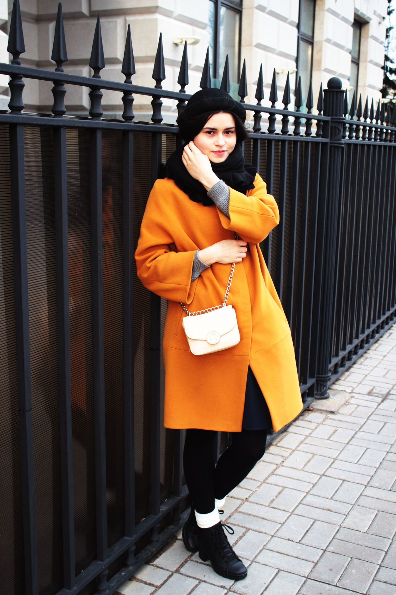 Mustard coat outfit
