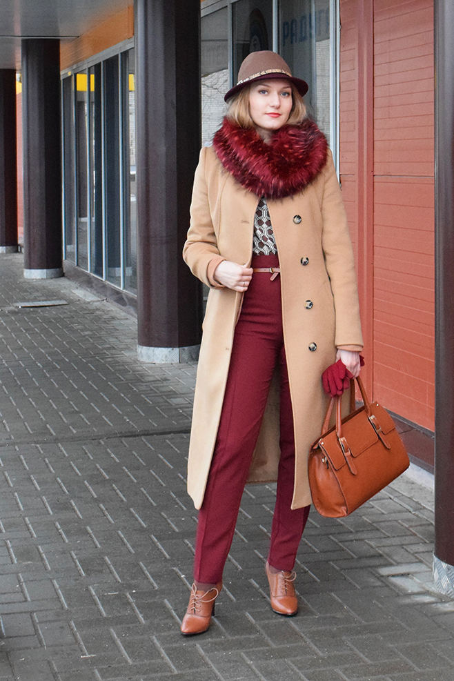 Burgundy and camel
