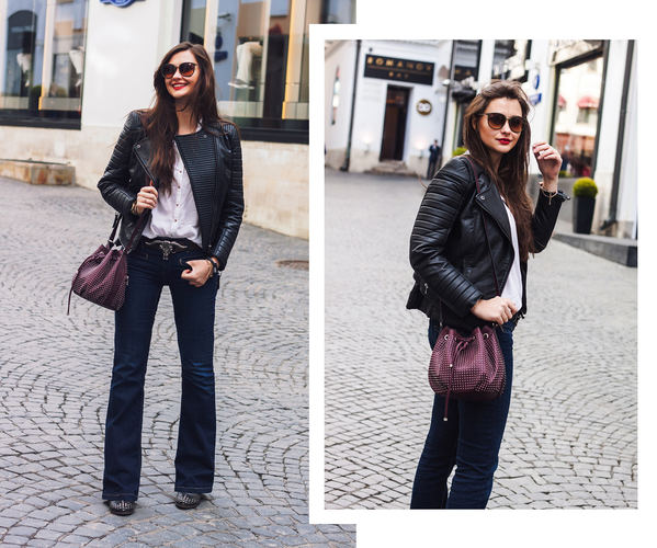 Flared jeans and red lips
