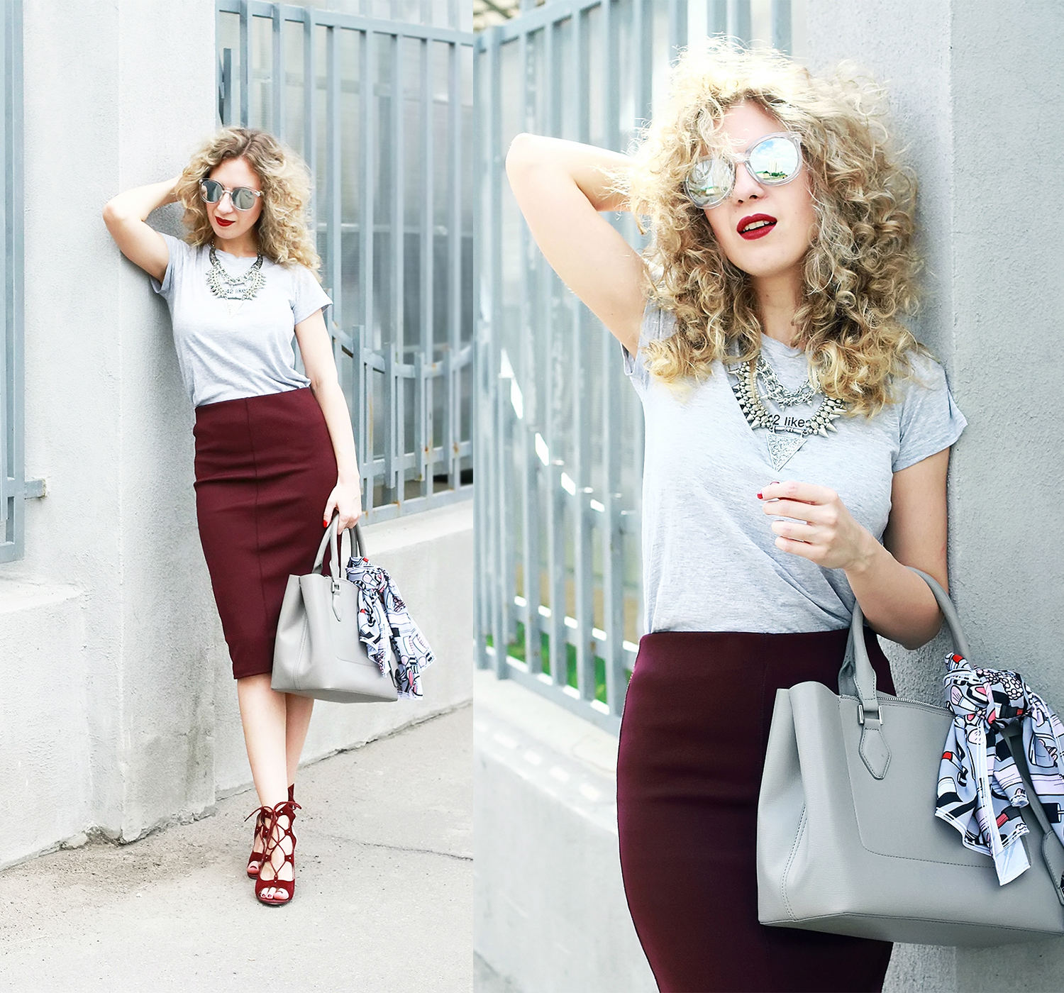 Marsala pensil skirt