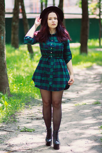 tartan and hat