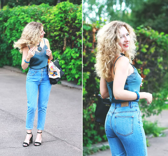 Underwear style top with mom-jeans