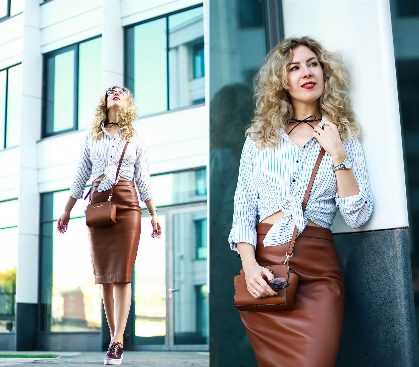 Leather skirt in big city