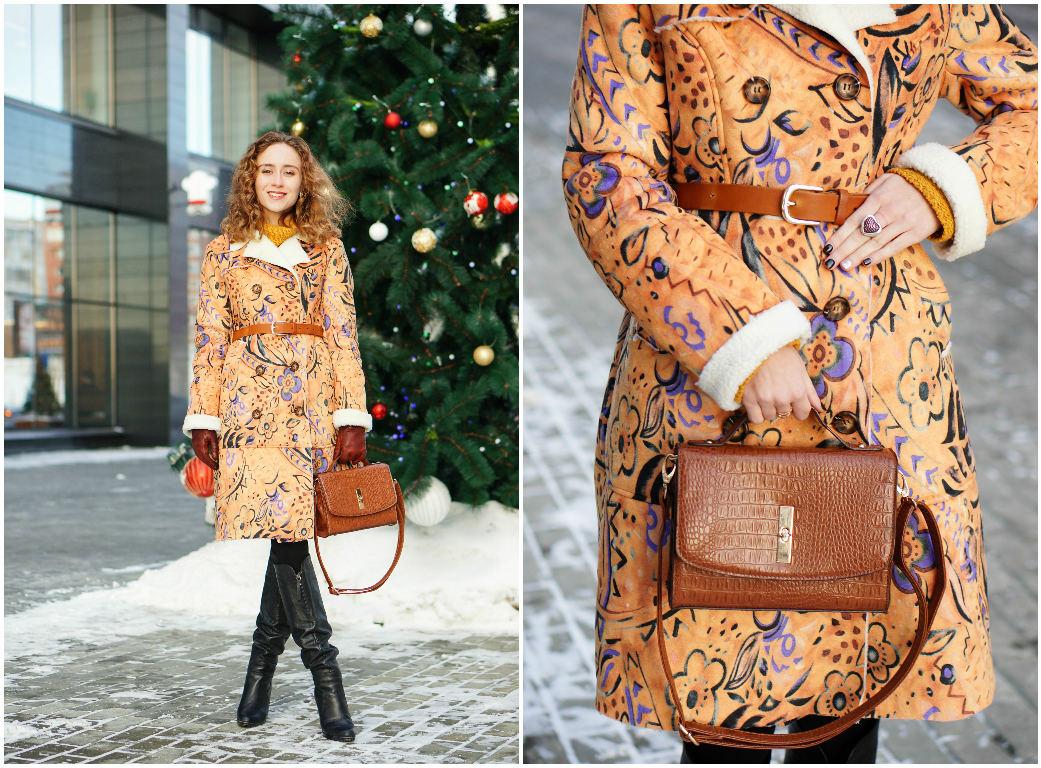 Floral print sheepskin coat